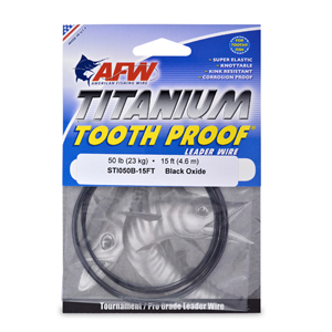 Titanium Tooth Proof, Single Strand Leader Wire, 50 lb (23 kg) test, .019 in (0.48 mm) dia, Black Oxide, 15 ft (4.6 m)