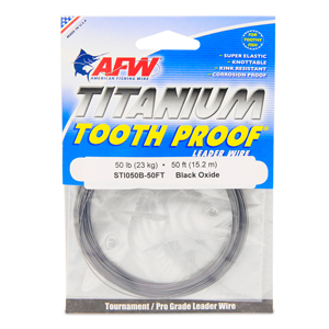 Titanium Tooth Proof, Single Strand Leader Wire, 50 lb (23 kg) test, .019 in (0.48 mm) dia, Black Oxide, VALUE PACK 50 ft (15.2 m)