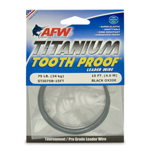 Titanium Tooth Proof, Single Strand Leader Wire, 75 lb (34 kg) test, .023 in (0.58 mm) dia, Black Oxide, 15 ft (4.6 m)