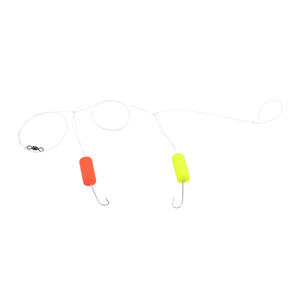 Double-Drop Rig, Clear Mono Line, 1 in (2.5 cm) Fluorescent Red & Yellow Round Float, #6 Hook, #7 Barrel Swivel, 1 pc