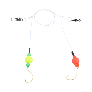 Double-Drop Rig, Clear Mono Line, 1 in (2.5 cm) Fluorescent Red & Yellow Cylinder Float, #6 Hook, #7 Barrel Swivel, 1 pc