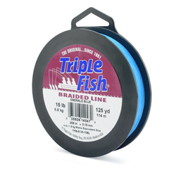 Triple Fish Braid, 15 lb (6.8 kg) test, 0.006 in (0.153 mm) diam, Emerald Blue, 125 yd (114 m)