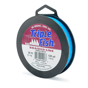 Triple Fish Braid, 20 lb (9.1 kg) test, 0.008 in (0.204 mm) diam, Emerald Blue, 125 yd (114 m)