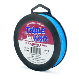 Triple Fish Braid, 40 lb (18.1 kg) test, 0.012 in (0.305 mm) diam, Emerald Blue, 125 yd (114 m)
