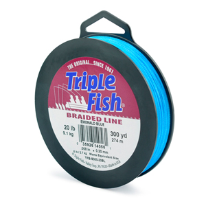 Triple Fish Braid, 20 lb (9.1 kg) test, 0.008 in (0.204 mm) diam, Emerald Blue, 300 yd (274 m)