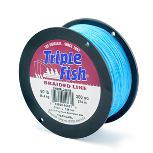 Triple Fish Braid, 80 lb (36.2 kg) test, 0.018 in (0.458 mm) diam, Emerald Blue, 300 yd (274 m)