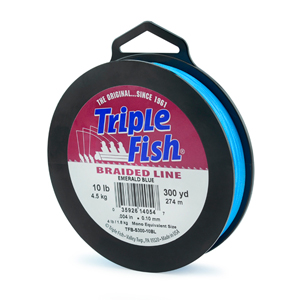 Triple Fish Braid, 10 lb (4.5 kg) test, 0.004 in (0.102 mm) diam, Emerald Blue, 300 yd (274 m)