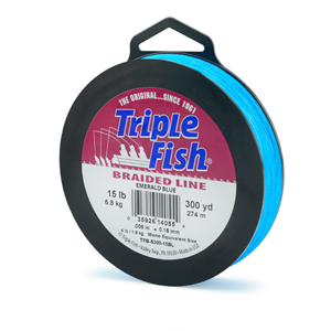 Triple Fish Braid, 15 lb (6.8 kg) test, 0.006 in (0.153 mm) diam, Emerald Blue, 300 yd (274 m)