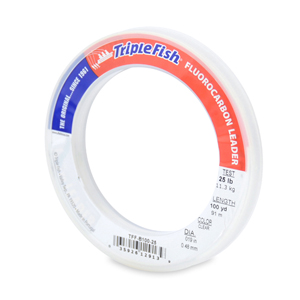 Triple Fish 100% Fluorocarbon Leader, 25 lb (11.3 kg) test, 0.019 in (0.48 mm) dia, Clear, 100 yd (91 m)