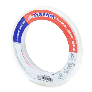 Triple Fish 100% Fluorocarbon Leader, 30 lb (13.6 kg) test, 0.021 in (0.54 mm) dia, Clear, 100 yd (91 m)