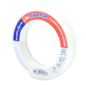 Triple Fish 100% Fluorocarbon Leader, 50 lb (22.7 kg) test, 0.029 in (0.74 mm) dia, Clear, 100 yd (91 m)