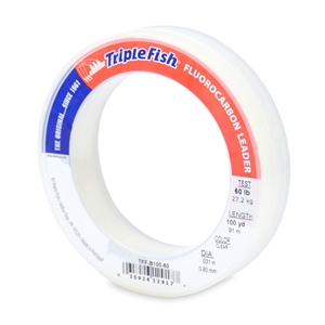 Triple Fish 100% Fluorocarbon Leader, 60 lb (27.2 kg) test, 0.031 in (0.80 mm) dia, Clear, 100 yd (91 m)