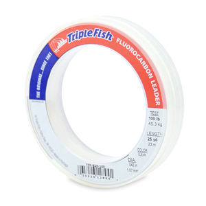 Triple Fish 100% Fluorocarbon Leader, 100 lb (45.3 kg) test, 0.042 in (1.07 mm) dia, Clear, 25 yd (23 m)