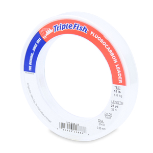 Triple Fish 100% Fluorocarbon Leader 15 lb (6.8 kg) test, 0.014 in (0.35 mm) dia, Clear, 25 yd (23 m)