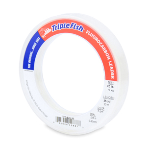 Triple Fish 100% Fluorocarbon Leader, 20 lb (9.1 kg) test, 0.016 in (0.40 mm) dia, Clear, 25 yd (23 m)