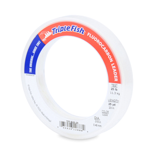 Triple Fish 100% Fluorocarbon Leader, 25 lb (11.3 kg) test, 0.019 in (0.48 mm) dia, Clear, 25 yd (23 m)