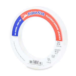 Triple Fish 100% Fluorocarbon Leader, 30 lb (13.6 kg) test, 0.021 in (0.54 mm) dia, Clear, 25 yd (23 m)