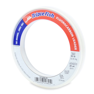 Triple Fish 100% Fluorocarbon Leader, 50 lb (22.7 kg) test, 0.029 in (0.74 mm) dia, Clear, 25 yd (23 m)