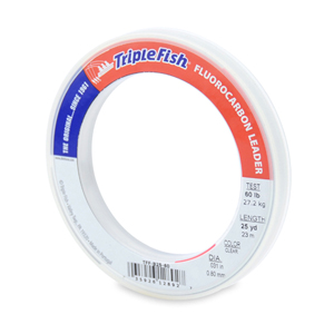 Triple Fish 100% Fluorocarbon Leader, 60 lb (27.2 kg) test, 0.031 in (0.80 mm) dia, Clear, 25 yd (23 m)