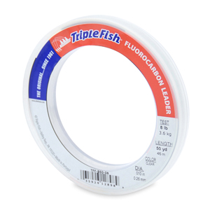 Triple Fish 100% Fluorocarbon Leader, 8 lb (3.6 kg) test, 0.010 in (0.26 mm) dia, Clear, 50 yd (46 m)