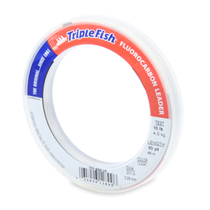 Triple Fish 100% Fluorocarbon Leader, 10 lb (4.5 kg) test, 0.011 in (0.29 mm) dia, Clear, 50 yd (46 m)