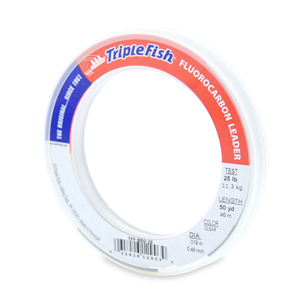Triple Fish 100% Fluorocarbon Leader, 25 lb (11.3 kg) test, 0.019 in (0.48 mm) dia, Clear, 50 yd (46 m)