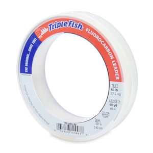 Triple Fish 100% Fluorocarbon Leader, 60 lb (27.2 kg) test, 0.031 in (0.80 mm) dia, Clear, 50 yd (46 m)
