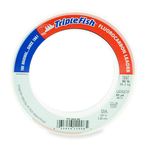 Triple Fish 100% Fluorocarbon Leader, 80 lb (36.2 kg) test, 0.037 in (0.95 mm) dia, Clear, 50 yd (46 m)