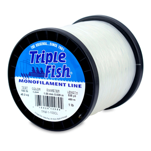 Triple Fish Mono Line, 100 lb (45.3 kg) test, .039 in (1.00 mm) dia, Clear, 1 lb (0.45 kg) Spool, 535 yd (489 m)