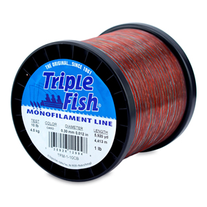 Triple Fish Mono Line, 10 lb (4.5 kg) test, .012 in (0.30 mm) dia, Camo, 1 lb (0.45 kg) Spool, 5920 yd (4413 m)