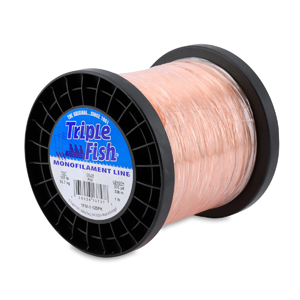 Triple Fish Mono Line, 125 lb (56.7 kg) test, .047 in (1.20 mm) dia, Pink, 1 lb (0.45 kg) Spool, 370 yd