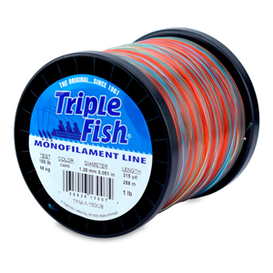 Triple Fish Mono Line, 150 lb (68.0 kg) test, .051 in (1.30 mm) dia, Camo, 1 lb (0.45 kg) Spool, 315 yd (288 m)