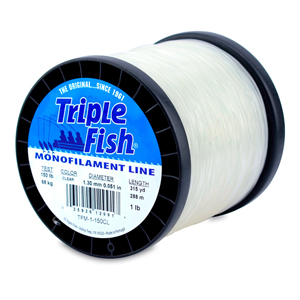 Triple Fish Mono Line, 150 lb (68.0 kg) test, .051 in (1.30 mm) dia, Clear, 1 lb (0.45 kg) Spool, 315 yd (288 m)