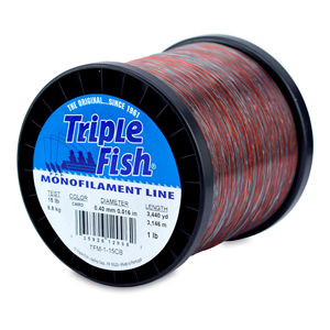 Triple Fish Mono Line, 15 lb (6.8 kg) test, .016 in (0.40 mm) dia, Camo, 1 lb (0.45 kg) Spool, 3440 yd (3146 m)