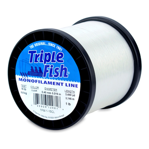 Triple Fish Mono Line, 15 lb (6.8 kg) test, .016 in (0.40 mm) dia, Clear, 1 lb (0.45 kg) Spool, 3440 yd (3146 m)