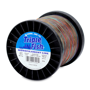 Triple Fish Mono Line, 125 lb (56.7 kg) test, .047 in (1.20 mm) dia, Camo, 2 lb (0.91 kg) Spool, 740 yd (677 m)