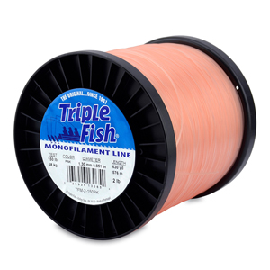 Triple Fish Mono Line, 150 lb (68.0 kg) test, .051 in (1.30 mm) dia, Pink, 2 lb (0.91 kg) Spool, 630 yd (576 m)