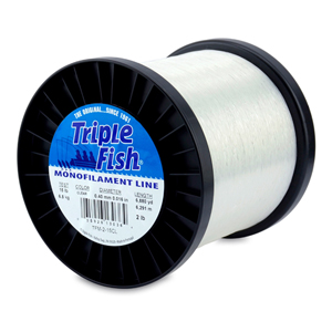 Triple Fish Mono Line, 15 lb (6.8 kg) test, .016 in (0.40 mm) dia, Clear, 2 lb (0.91 kg) Spool, 6880 yd (6291 m)