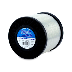 Triple Fish Mono Line, 150 lb (68.0 kg) test, .051 in (1.30 mm) dia, Clear, 5 lb (2.26 kg) Spool, 1575 yd (1440 m)