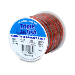 Triple Fish Mono Line, 100 lb (45.3 kg) test, .039 in (1.00 mm) dia, Camo, 1/4 lb (0.11 kg) Spool, 133 yd (122 m)