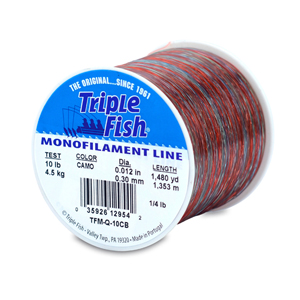 Triple Fish Mono Line, 10 lb (4.5 kg) test, .012 in (0.30 mm) dia, Camo, 1/4 lb (0.11 kg) Spool, 1480 yd (1353 m)