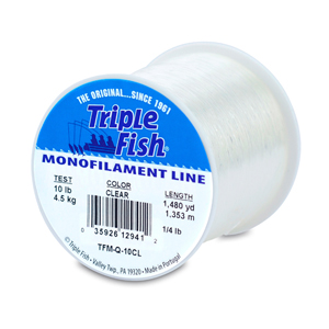 Triple Fish Mono Line, 10 lb (4.5 kg) test, .012 in (0.30 mm) dia, Clear, 1/4 lb (0.11 kg) Spool, 1480 yd (1353 m)