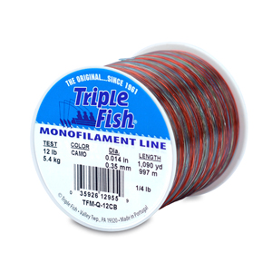 Triple Fish Mono Line, 12 lb (5.4 kg) test, .014 in (0.35 mm) dia, Camo, 1/4 lb (0.11 kg) Spool, 1090 yd (997 m)