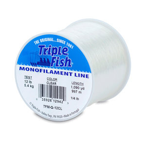 Triple Fish Mono Line, 12 lb (5.4 kg) test, .014 in (0.35 mm) dia, Clear, 1/4 lb (0.11 kg) Spool, 1090 yd (997 m)