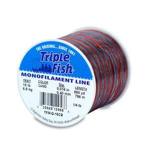 Triple Fish Mono Line, 15 lb (6.8 kg) test, .016 in (0.40 mm) dia, Camo, 1/4 lb (0.11 kg) Spool, 860 yd (786 m)