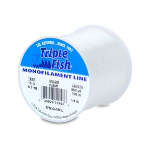 Triple Fish Mono Line, 15 lb (6.8 kg) test, .016 in (0.40 mm) dia, Clear, 1/4 lb (0.11 kg) Spool, 860 yd (786 m)