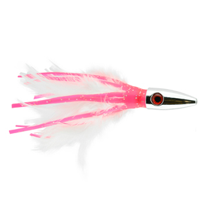 Billy Baits, Ahi Slayer Lure, Pink/White Feather/Vinyl Skirt, 5 in (12.7 cm)