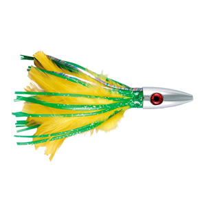 Billy Baits, Ahi Slayer Lure, Green/Yellow Feather/Vinyl Skirt, 5 in (12.7 cm)