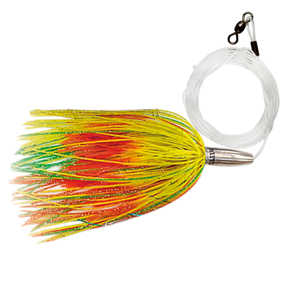 Billy Baits, Mini Turbo Slammer Rigged & Ready, Green-Silv/White, Concave Head, 7/0 Mustad Hook, AFW Swivel, 100 lb (45.3 kg) Grand Slam Mono Line, 6 ft (1.8 m)
