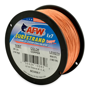 Surfstrand, Bare 1x7 Copper Trolling Wire, 30 lb (14 kg) test, .028 in (0.71 mm) dia, Copper, 600 ft (183 m)